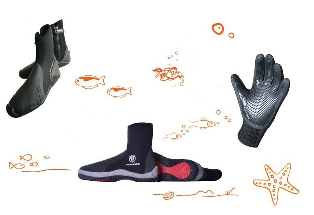 Stiefel und Handschuhe